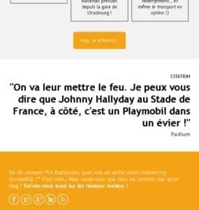 """Newsletter Badsender dans laquelle le groupe """"Johnny"""" """"Hallyday"""" subit le lien automatique sur iOS"""