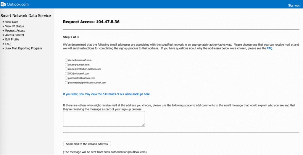 Adresse email pour validation de requête