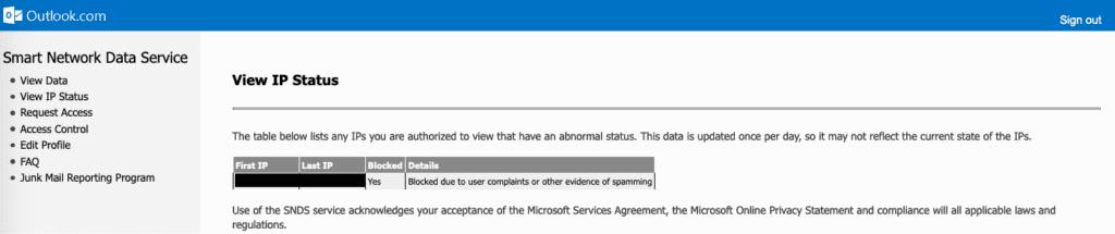 IP Status sur l'outil de monitoring Microsoft